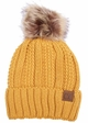 Mustard CC Beanie Hat with Warm Lining and Fur Pom Pom  inset 3