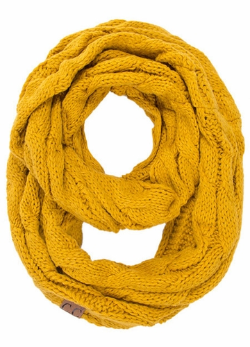 Mustard CC Brand Cable Knit Infinity Scarf