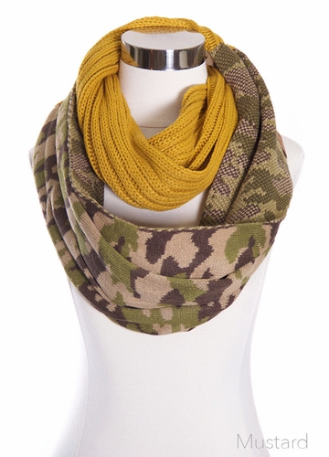 Mustard CC Knit Scarf with Camouflage