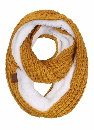 Mustard CC Knit Scarf with Sherpa Lining