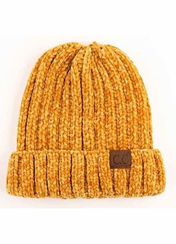 Mustard Chenille Wide Ribbed Knit CC Beanie Hat