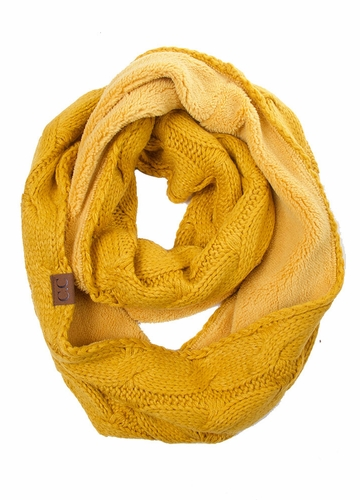 Mustard Fleece Lined Cable Knit CC Infinity Scarf