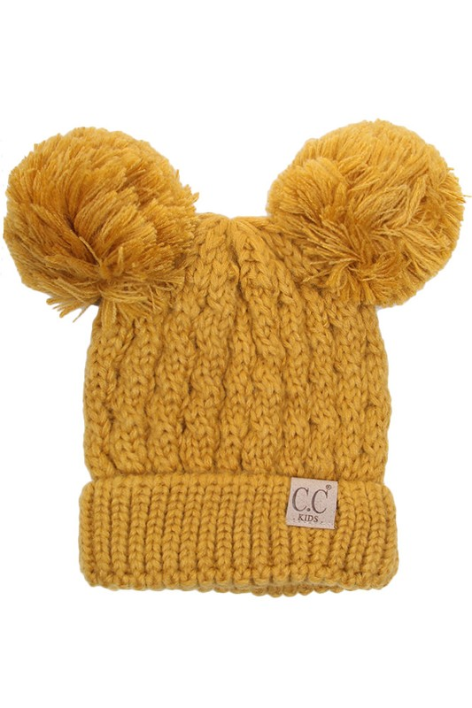 Mustard Kids Knit Solid Color CC Beanie Hat with Two Pom Poms 40176998af5