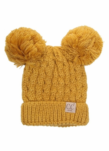 Mustard Kids Knit Solid Color CC Beanie Hat with Two Pom Poms