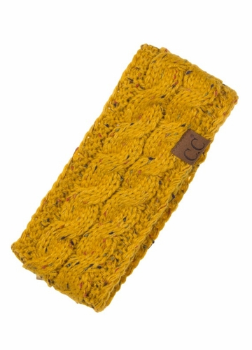 Mustard Knit Head Wrap with Sherpa Lining by CC Brand