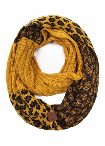 Mustard New Leopard Print Infinity Scarf from CC Brand