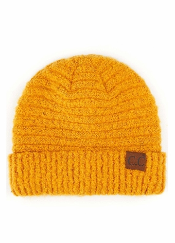 Mustard Solid Color Boucle Yarn CC Beanie Hat