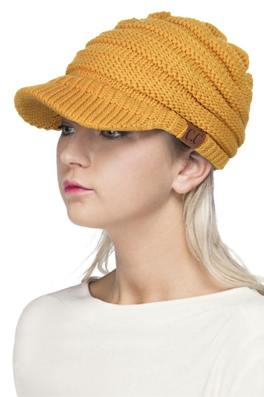 Mustard Yellow CC Beanie Hat with Brim eac547ba91c