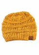 Mustard Yellow Ombre Confetti Knit CC Beanie Hat inset 1