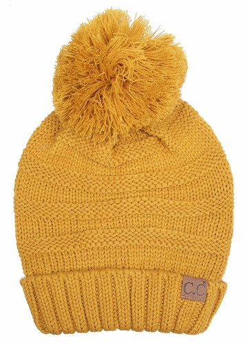 Mustard Yellow Slouchy CC Beanie Hat with Pom Pom