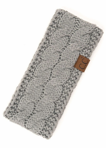 Natural Grey Cable Knit CC Brand Headband with Plush Lining