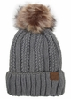Natural Grey CC Beanie Hat with Warm Lining and Fur Pom Pom  inset 1