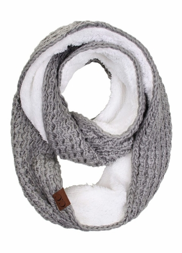 Natural Grey CC Knit Scarf with Sherpa Lining