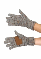 Natural Grey Confetti Yarn Smart Tip Gloves by CC Brand