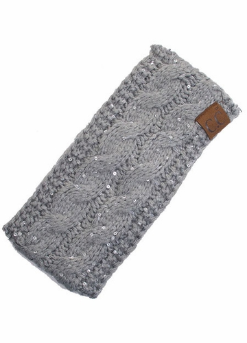 Natural Grey Sequin Cable Knit CC Headband with Plush Lining