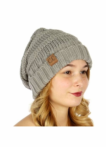 Natural Grey Slouchy Knit CC Beanie Hat