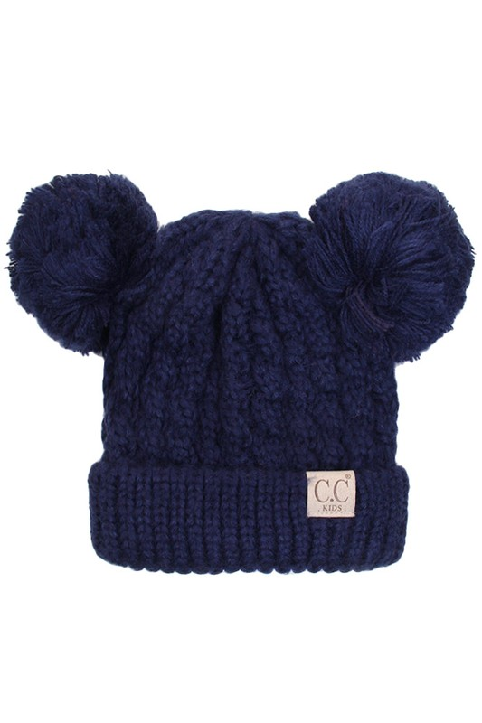 2c59d8e9af2 Navy Kids Knit Solid Color CC Beanie Hat with Two Pom Poms