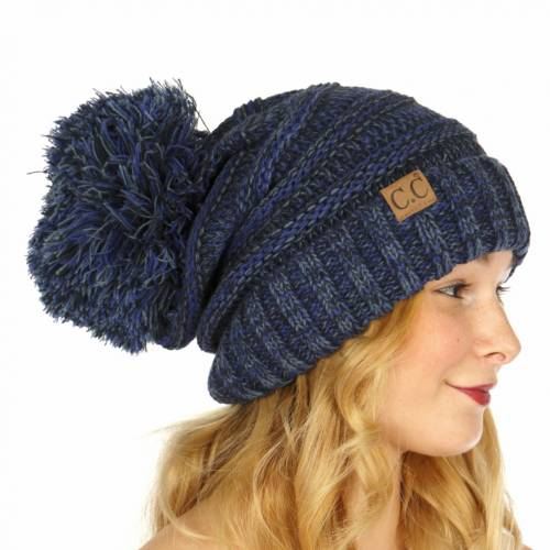 56f20b357 Navy Multi Color Oversized Slouchy Beanie with Pom Pom