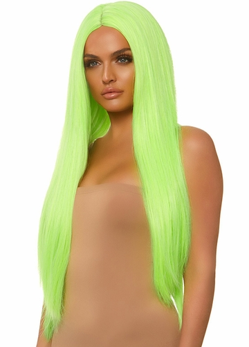 Neon Green Long Straight Wig with a Center Parted