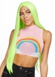 Neon Green Long Straight Wig with a Center Parted inset 1
