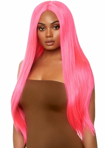 Neon Pink Long Straight Wig with a Center Parted