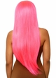 Neon Pink Long Straight Wig with a Center Parted inset 1