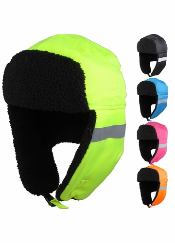 Neon Reflective Aviator Hat with Ear Flaps