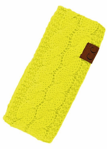 Neon Yellow Cable Knit CC Brand Headband with Plush Lining