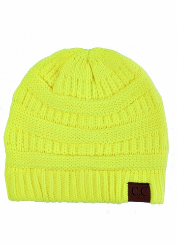 Neon Yellow Ribbed Knit CC Beanie Hat