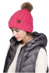 d47330a54ac New Candy Pink CC Beanie Hat with Warm Lining and Fur Pom Pom  18.00