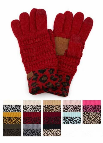 New CC Knit Gloves with Leopard Cuff