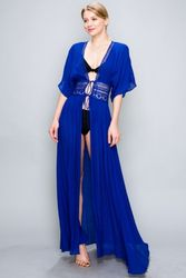 Blue Cover-Up Dress with Lace Waist