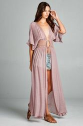 Mauve Cover-Up Dress with Lace Waist