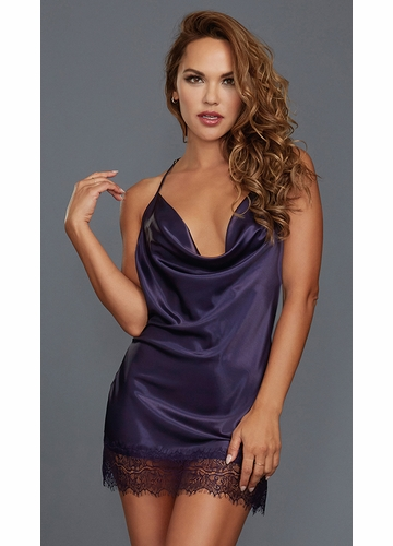 Silky Purple Chemise with Lace Trim