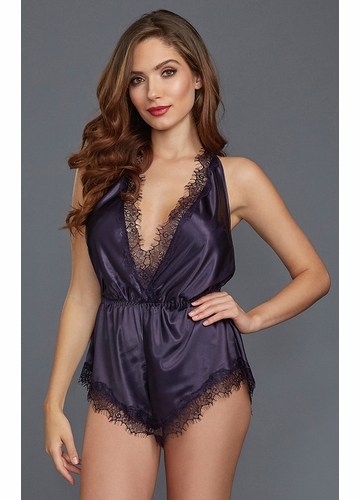 Silky Purple Romper with Lace Trim