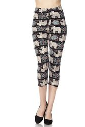 Elephant Print Peach Skin Capri Leggings