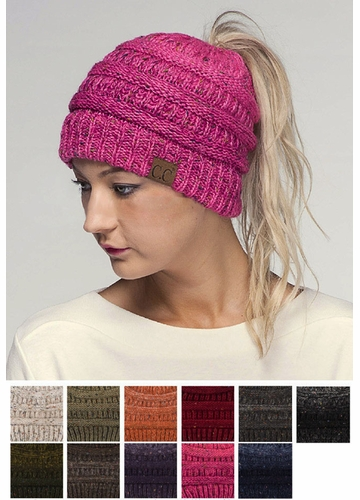 Ombre Confetti CC Beanie with Ponytail Opening