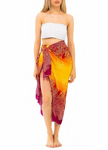 Ombre Cotton Sarong with Paisley Print