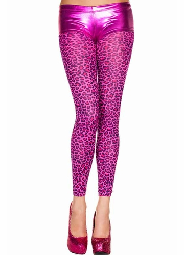 Opaque Pink Leopard Footless Tights
