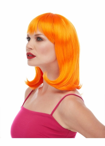 Orange Tapered Wig Doll with Bangs