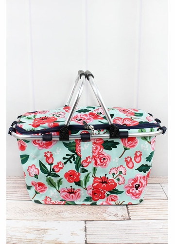 Painted Posies Collapsible Insulated Market Basket with Lid