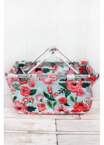 Painted Posies Collapsible Market Basket
