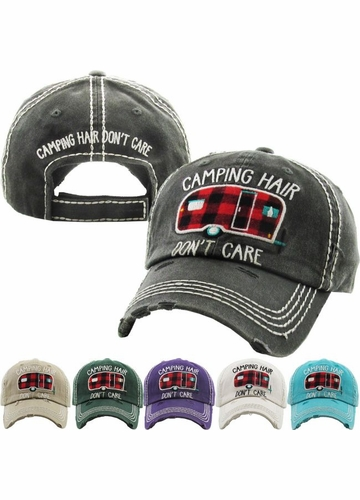 PLAID CAMPING HAIR DON'T CARE Washed Vintage Ballcap