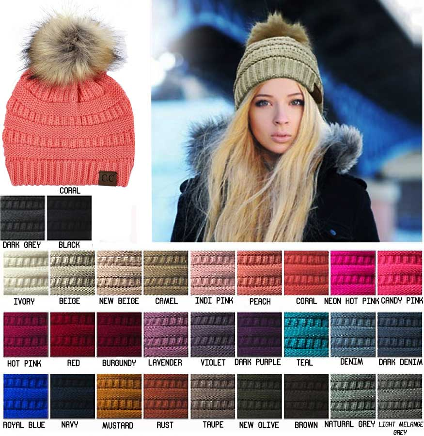 30a9b0717bb Faux Fur Pom Pom Beanie Hat by CC Brand