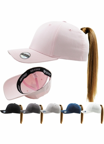 Ponytail Stretch Cotton Spandex Headband Hat with EZ Fit Technology