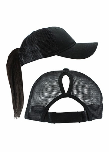 Ponytail Trucker Hat with Mesh Back