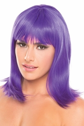 Purple Tapered Wig with Full Bangs Doll