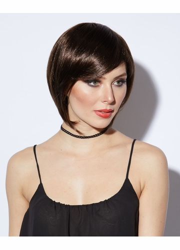Razor Cut Bob WigMystic With Bangs in Chocolate