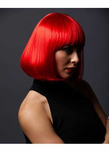 Red Bob Wig with Bangs Cindy