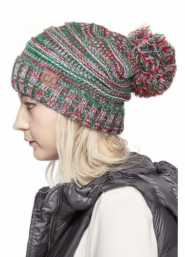 Red, Green and White CC Brand Knit Beanie Hat with Pom